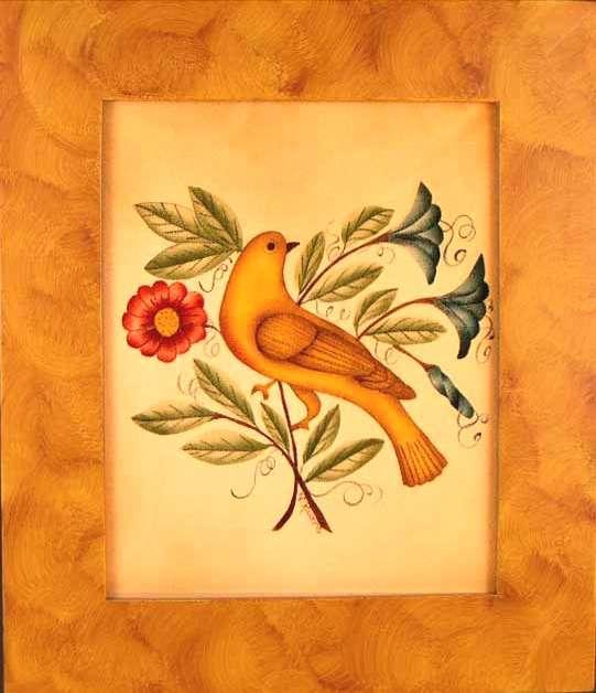 Historic Bird & Flowers Painting by Nancy Rosier