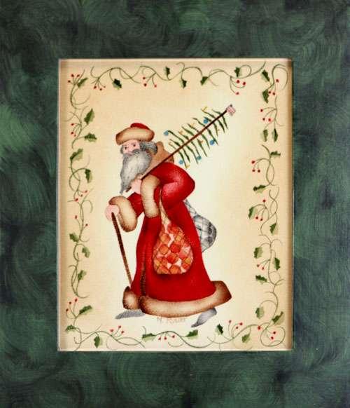 Old World Santa Painting by American Folk Artist Nancy Rosier Williamsburg VA