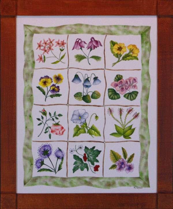 12 Floral Paintings by Theorem Paintings by American Folk Artist Nancy Rosier of Williamsburg Virginia