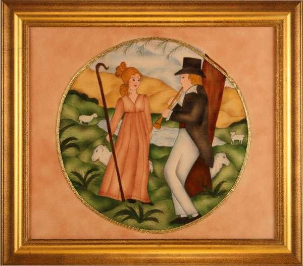 Courting Painting by Theorem Paintings by American Folk Artist Nancy Rosier of Williamsburg Virginia