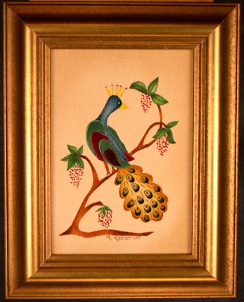 Small Peacock Painting by Theorem Paintings by American Folk Artist Nancy Rosier of Williamsburg Virginia