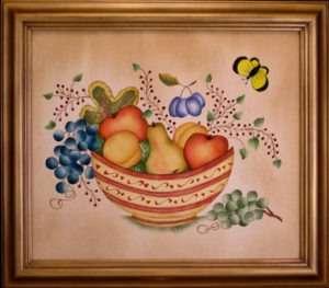 Decorative Bowl of Fruit by Theorem Paintings by American Folk Artist Nancy Rosier of Williamsburg Virginia