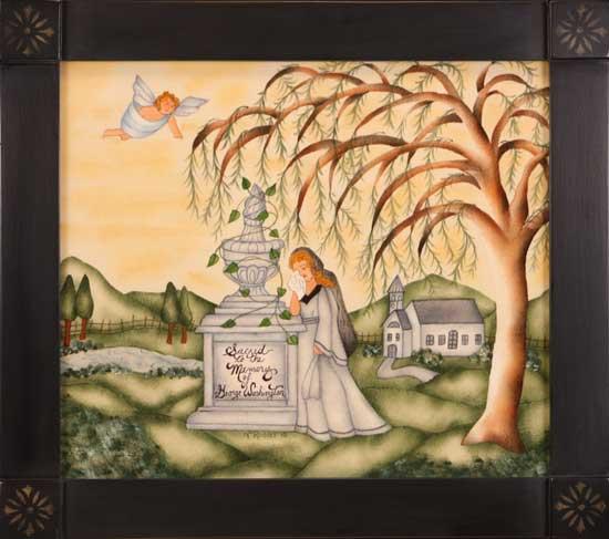 Morning Painting by Theorem Paintings by American Folk Artist Nancy Rosier of Williamsburg Virginia