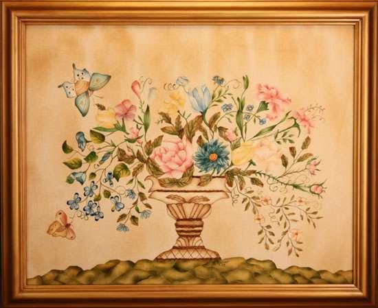 Museum Floral Painting by Theorem Paintings by American Folk Artist Nancy Rosier of Williamsburg Virginia