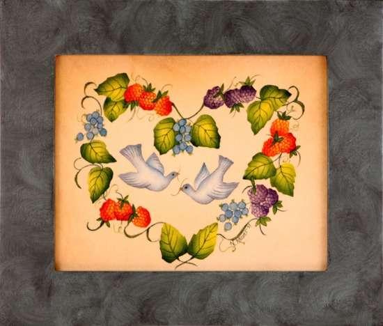 Floral Heart Painting by Theorem Paintings by American Folk Artist Nancy Rosier of Williamsburg Virginia