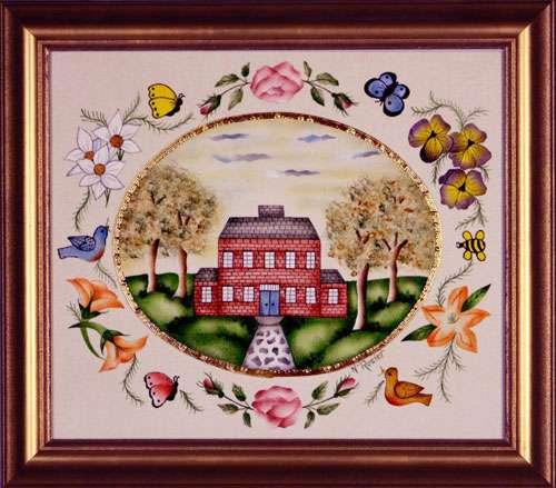 Traditional Home Painting by Theorem Paintings by American Folk Artist Nancy Rosier of Williamsburg Virginia