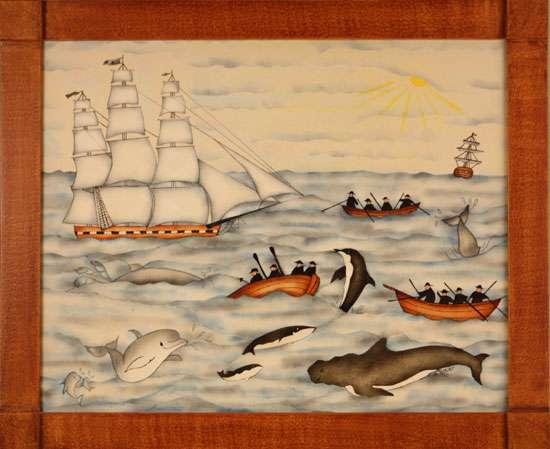 Whaling Ship Painting by Theorem Paintings by American Folk Artist Nancy Rosier of Williamsburg Virginia