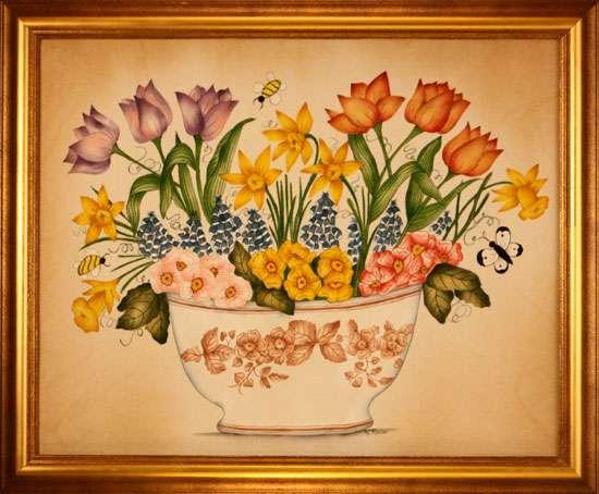 Contemporary Bowl of Flowers Painting by Theorem Paintings by American Folk Artist Nancy Rosier of Williamsburg Virginia