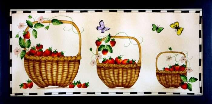 Three basket Painting by Theorem Paintings by American Folk Artist Nancy Rosier of Williamsburg Virginia