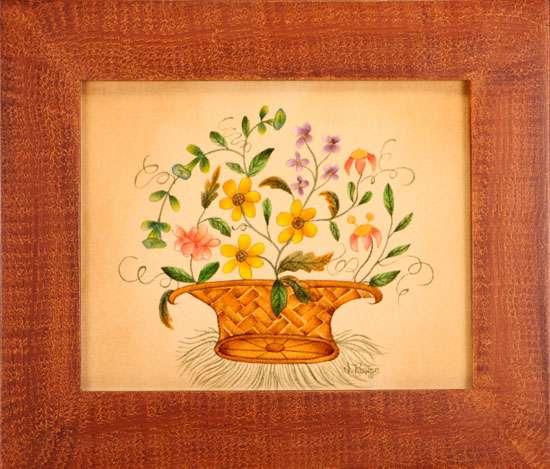 Floral Painting in Traditional Basket - Nancy Rosier Williamsburg VA