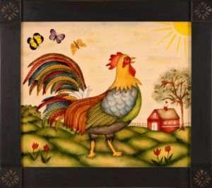 Rooster Painting by Theorem Paintings by American Folk Artist Nancy Rosier of Williamsburg Virginia