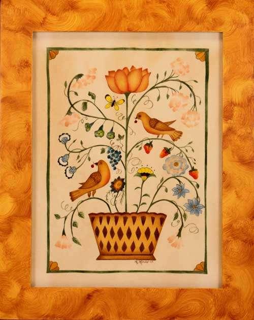 Whimsical Birds in Basket Painting by Theorem Paintings by American Folk Artist Nancy Rosier of Williamsburg Virginia