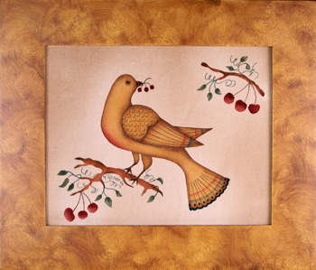 Folk Art Bird by Theorem Paintings by American Folk Artist Nancy Rosier of Williamsburg Virginia