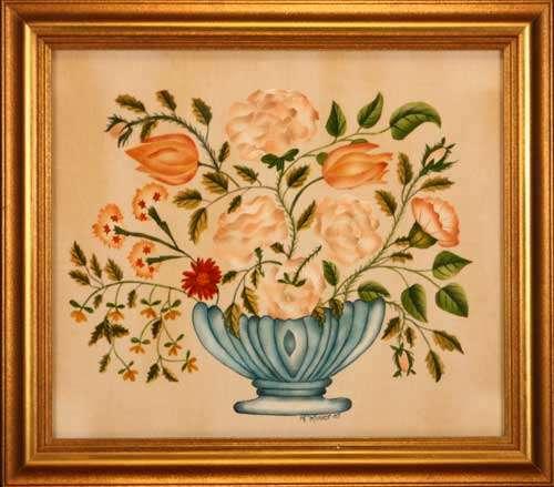 Fanciful Bowl of Flowers by Theorem Paintings by American Folk Artist Nancy Rosier of Williamsburg Virginia