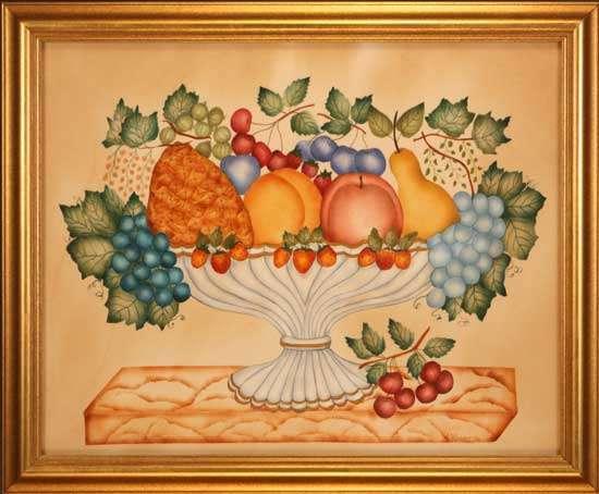 Traditional Bowl of Fruit Painting by Theorem Paintings by American Folk Artist Nancy Rosier of Williamsburg Virginia