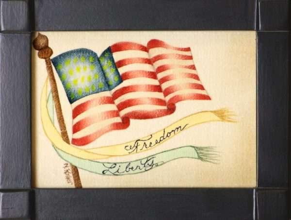 American Flag Theorem Painting by American Folk Artist Nancy Rosier