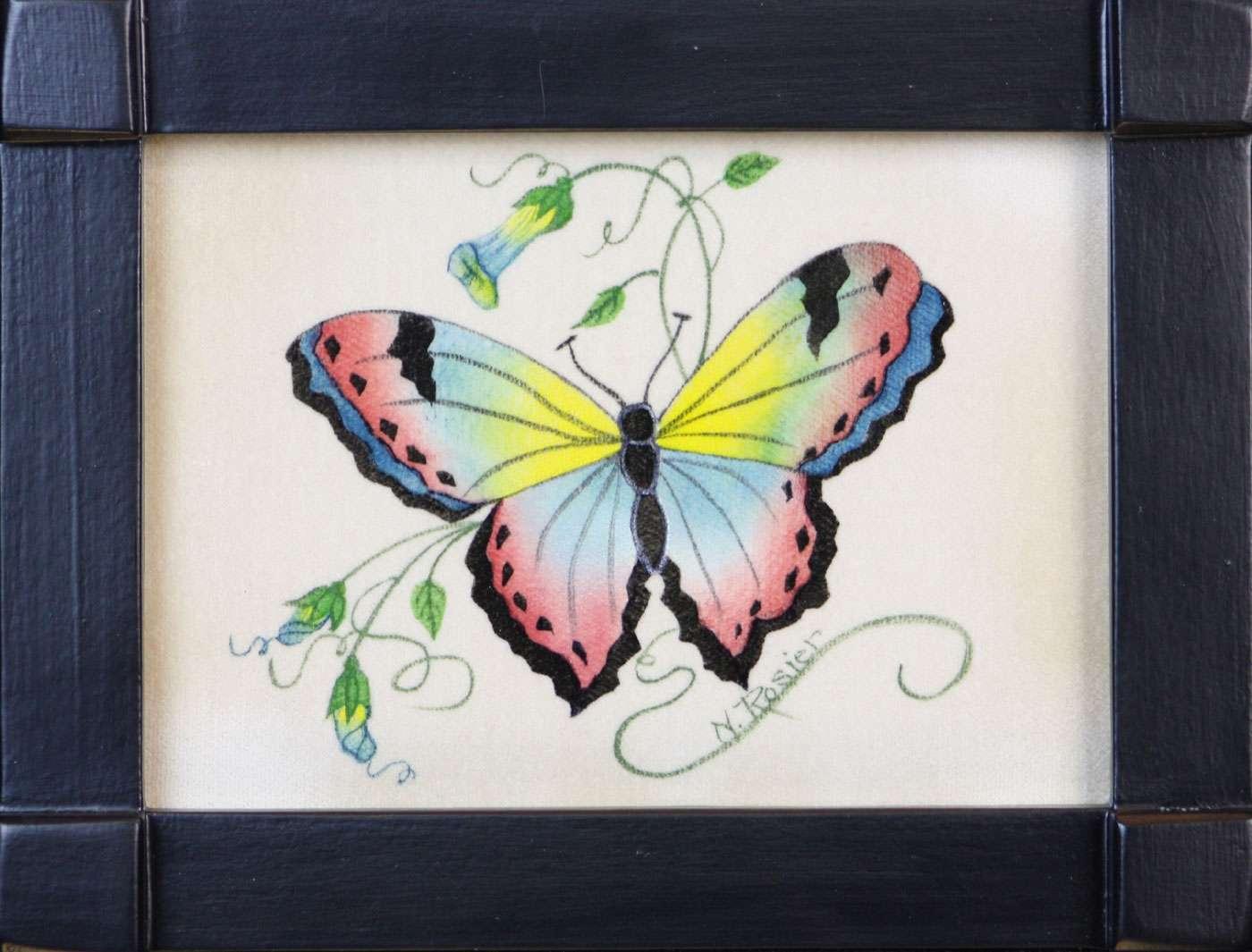 Butterfly painting #191 by American folk artist Nancy Rosier