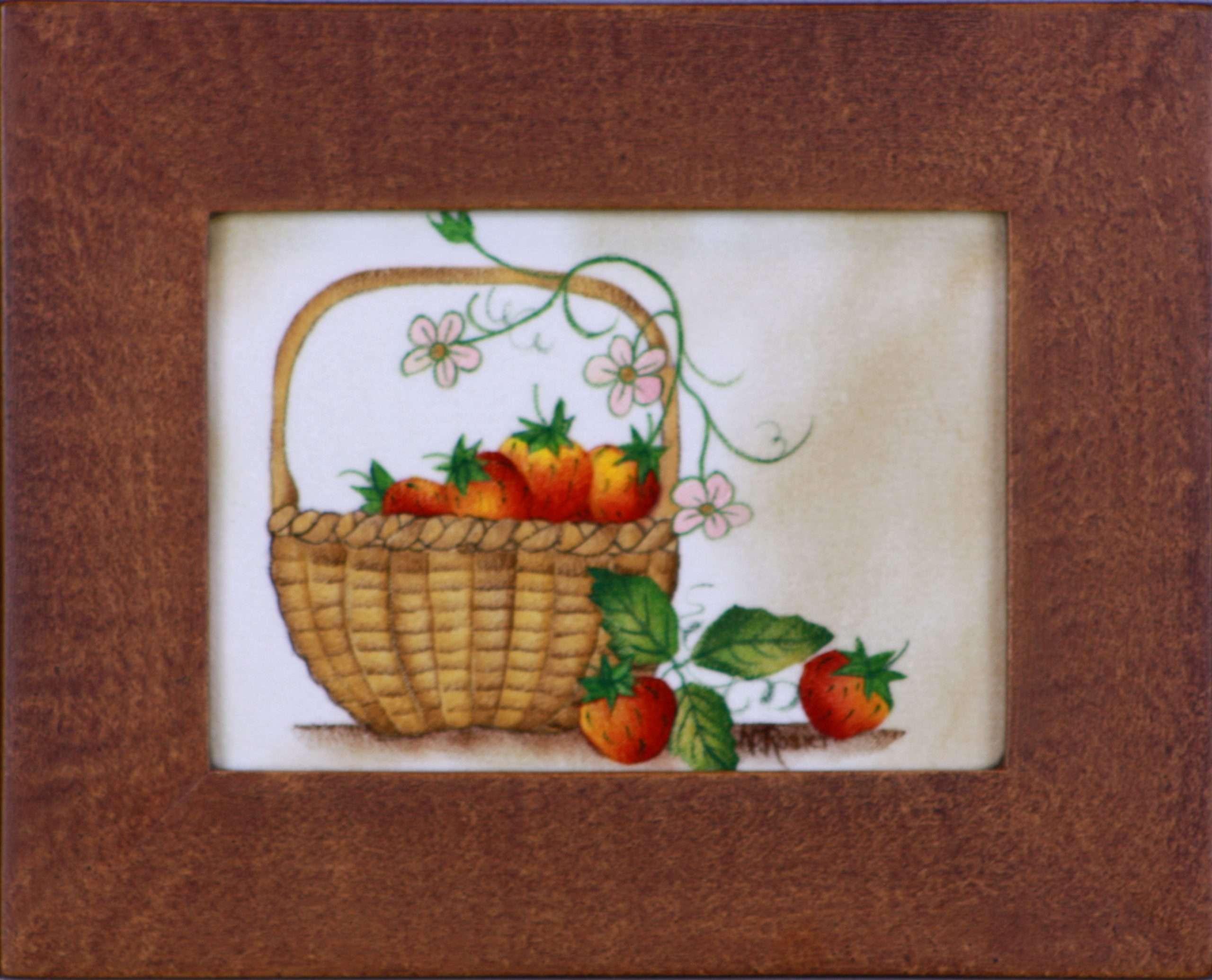 Basket of Strawberries by American Folk Artist Nancy Rosier