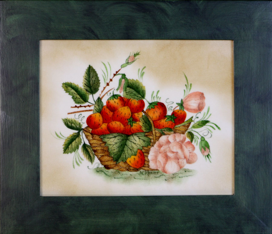 Strawberry basket with flower painting by American Folk Artist Nancy Rosier