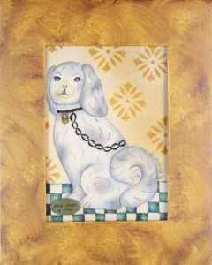 Folk Art Dog painting - Theorem Painting by Nancy Rosier