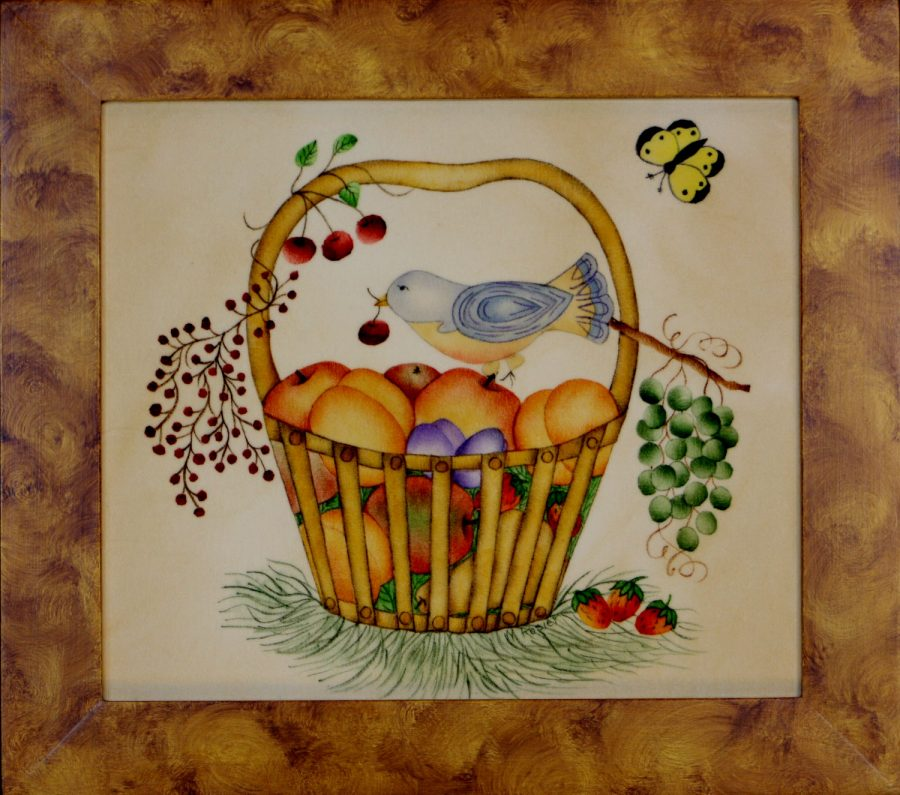Bird in Basket theorem Painting by American Folk Artist Nancy Rosier