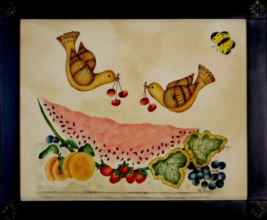 Birds & Watermelon painting by American Folk Artist Nancy Rosier